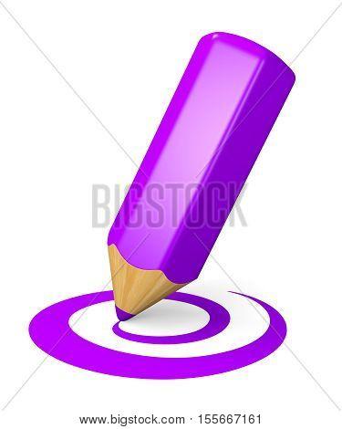 Violet pencil drawing curved shape. Internet blogging concept. 3d illustration.