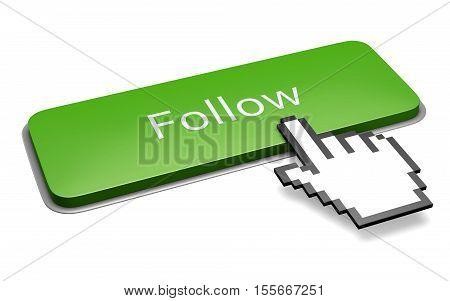 Green Follow Button And Hand Cursor Concept