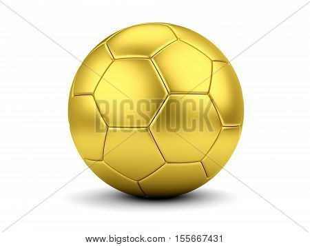 Sports award concept. Golden soccerball isolated on white. 3D illustration