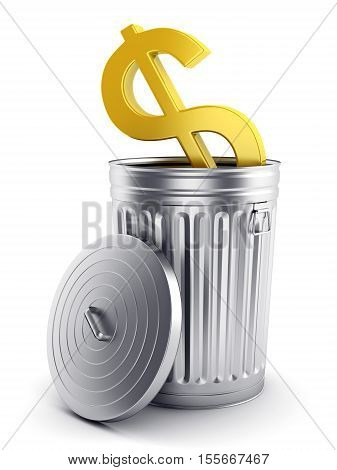 Financial and business crisis concept. Golden dollar symbol in steel trash can with lid isolated on white. 3D illustration