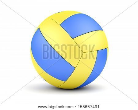 Blue and yellow soccerball isolated on white. 3D illustration