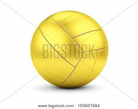 Sports award concept. Golden soccerball on white. 3D illustration