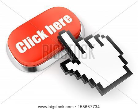 Red button with Click here text and hand link selection computer mouse curso isolated on white. 3D illustration
