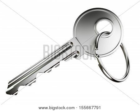 Nickel door key with ring isolated on white background. 3D illustration