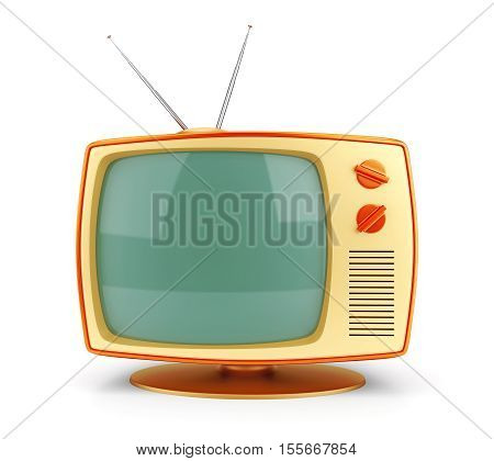 Old fashioned 70 style vintage TV set icon isolated on white background. 3D illustration
