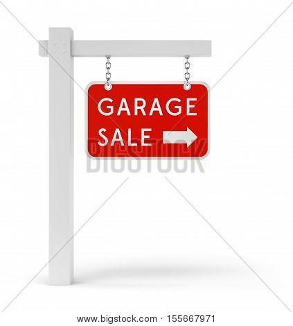 Garage Sale sign with arrow symbol isolated on white background. 3D illustration