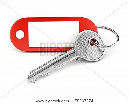 Door key and red plastic keyring with blank tag for text or number isolated on white background. 3D illustration