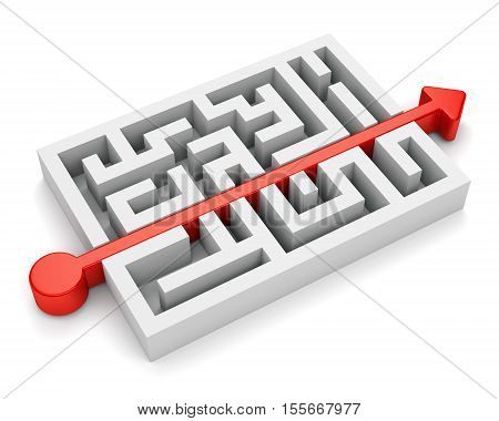 Red path with arrow across labyrinth isolated on white background. 3D illustration