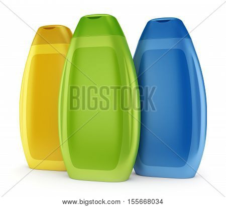 Group of three color yellow green and blue bottles of cosmetic body lotion shower gel or shampoo isolated on white background. 3D illustration