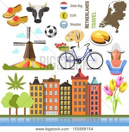 Netherland flat icons design travel concept. Symbols travel set and europe culture . vector illustrations with Netherlands famous landmarks.