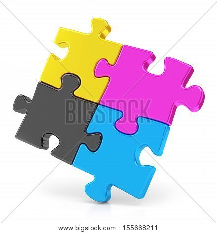 Four colorful CMYK puzzle pieces isolated on white background. Teamwork and offset print concept. 3D illustration