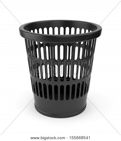 Black plastic empty wastebasket isolated on white background. 3D illustration