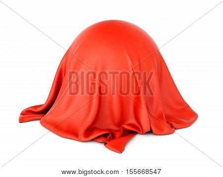 3D illustration of sphere shaped object covered with red satin cloth isolated on white background. Surprise and presentation concept.