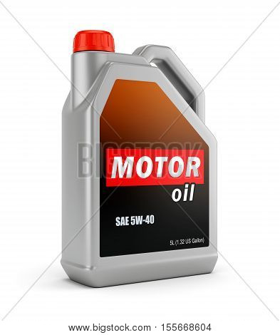 Gray plastic canister of motor oil isolated on white background. 3D illustration
