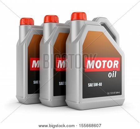 Plastic canisters of motor oil with label isolated on white background. 3D illustration