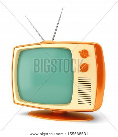 Old fashioned 70 style vintage cartoon TV set isolated on white background. 3D illustration