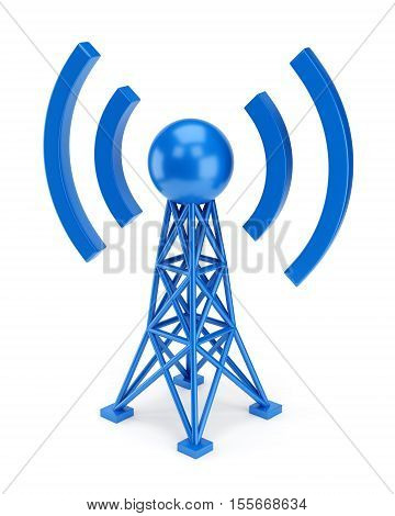 Abstract radio antenna tower icon isolated on white background. Wireless communication technology concept. 3D illustration
