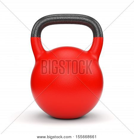 Red gym weight kettle bell isolated on white background. 3D illustration