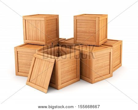 Group of wooden boxes isolated on white background. Shipping cargo warehouse and logistic concept. 3D illustration