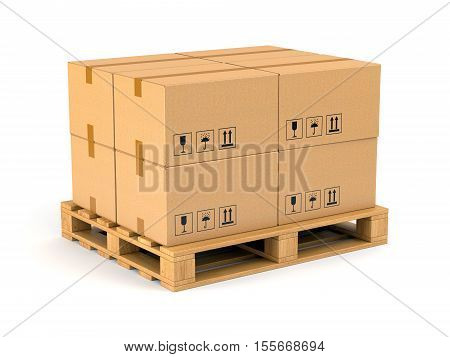 Cardboard boxes on wooden pallet isolated on white background. Warehouse shipping cargo and delivery concept. 3D illustration