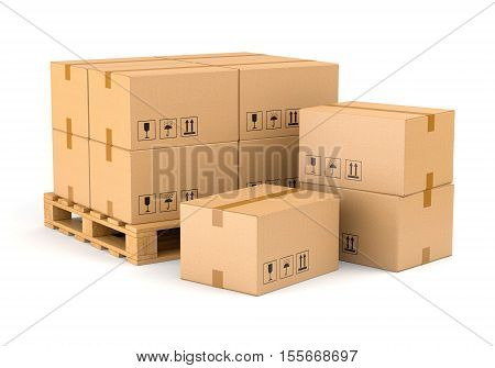 Cardboard boxes and wooden pallet isolated on white background. Warehouse shipping cargo and delivery concept. 3D illustration