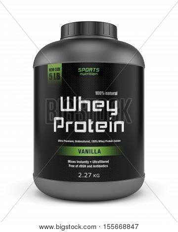 Sports nutrition bodybuilding supplements: jar of vanilla flavored whey protein isolated on white background. 3D illustration