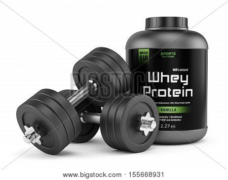 Dumbbells and jar of whey protein isolated on white background. Sports nutrition bodybuilding supplements gym bodybuilding fitness and healthy lifestyle concept. 3D illustration