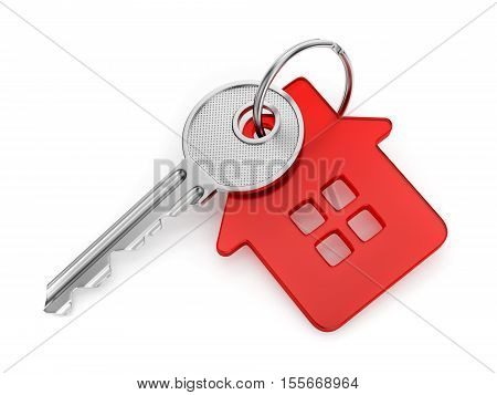 Metal door key with red house shaped key-chain isolated on white background 3D illustration