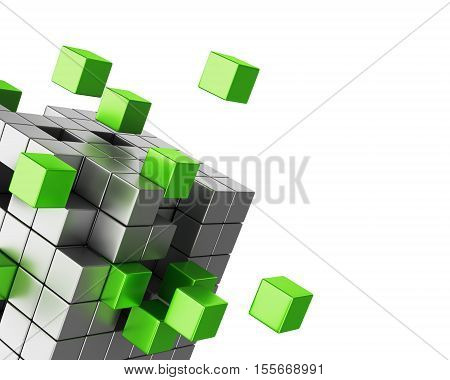 Assembling cube structure on white background. Business teamwork and creativity concept. 3D illustration