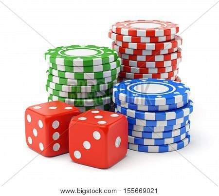 Pile of color green red and blue gambling chips and two dices isolated on white background. Casino games luck and winning concept. 3D illustration
