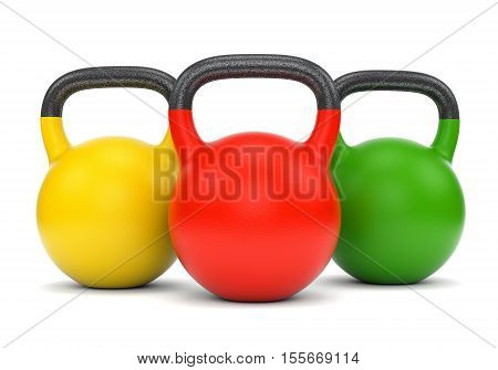 Three gym weight kettle bells isolated on white background. 3D illustration