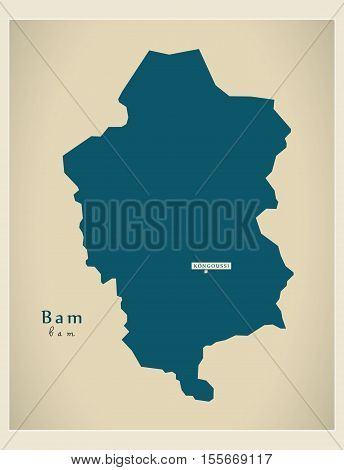 Modern Map - Bam BF vector illustration high res
