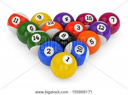 Triangle group colorful glossy pool game balls with numbers isolated on white background. Set of retro poolballs. 3D illustration