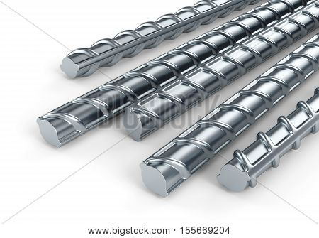 Reinforcing steel bars. Building armature on white background. 3D illustration