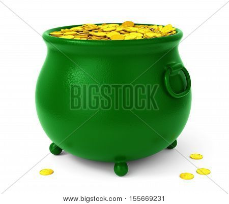 Green pot with gold coins isolated on white background. St Patricks days celebration concept. 3D illustration