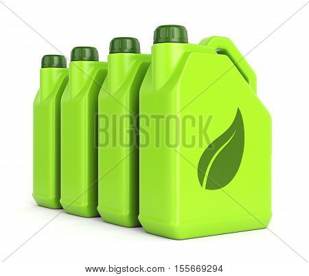 Gasoline jerrycans with leaf icon isolated on white background. Green energy and bio fuel concept. 3D illustration