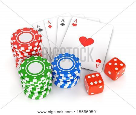 Pile of gambling chips playing cards and two dices isolated on white background. Casino games luck and winning concept. 3D illustration