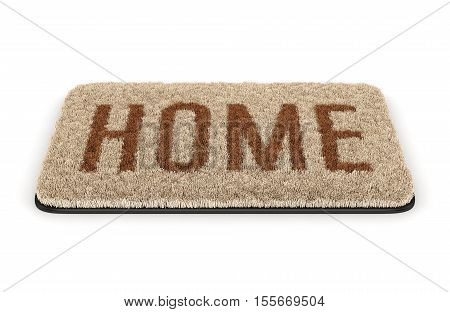 Brown coir doormat with text Home isolated on white background. 3D illustration