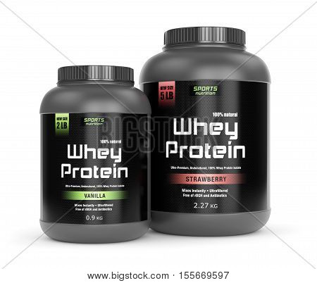 Sports nutrition bodybuilding supplements: two jars of vanilla and strawberry flavored whey protein isolated on white background. 3D illustration