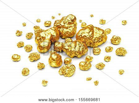 Golden nuggets. Group of gold stones of different size isolated on white background. 3D illustration