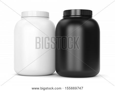 Bodybuilding supplements: cans of protein or gainer powder isolated on white background. 3D illustration