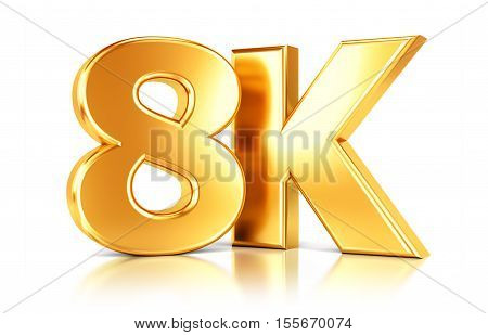 8K ultra high definition television video technology golden logo icon isolated on white background with reflection effect. 3D illustration