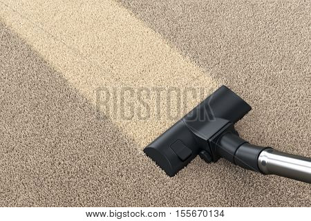 Vacuum cleaner brush on dirty carpet with clean strip. Vacuuming cleaning and housework concept. 3D illustration