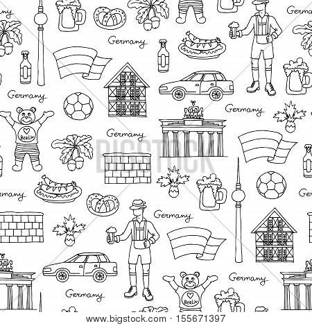 Vector seamless pattern with hand drawn isolated symbols of Germany on white color. Pattern on the theme of travel and tourism. Background for use in design, packing, web site, fabric
