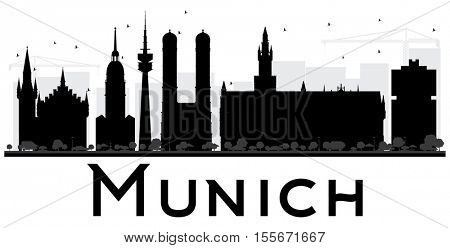 Munich City skyline black and white silhouette. Simple flat concept for tourism presentation, banner, placard or web site. Business travel concept. Cityscape with landmarks