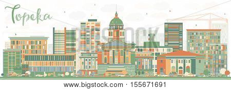 Abstract Topeka Skyline with Color Buildings. Business Travel and Tourism Concept with Modern Architecture. Image for Presentation Banner Placard and Web Site.