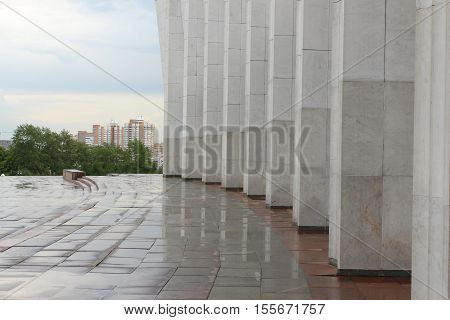 Colonnade of the Central Museum of the Great Patriotic War on Poklonnaya Hill. Moscow