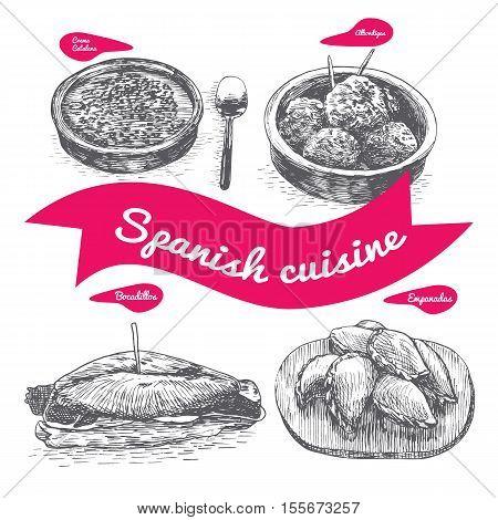 Menu of Spain monochrome illustration. Vector illustration of Spanish cuisine.
