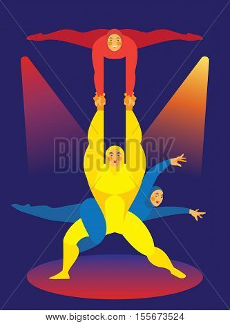 Man power is an acrobat who performs with 2 women