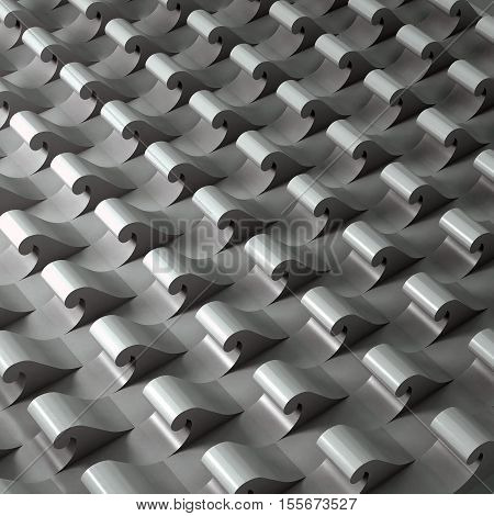 3d illustration. Three-dimensional metal pattern based on the repetition of the waveform. Architectural abstract background. poster